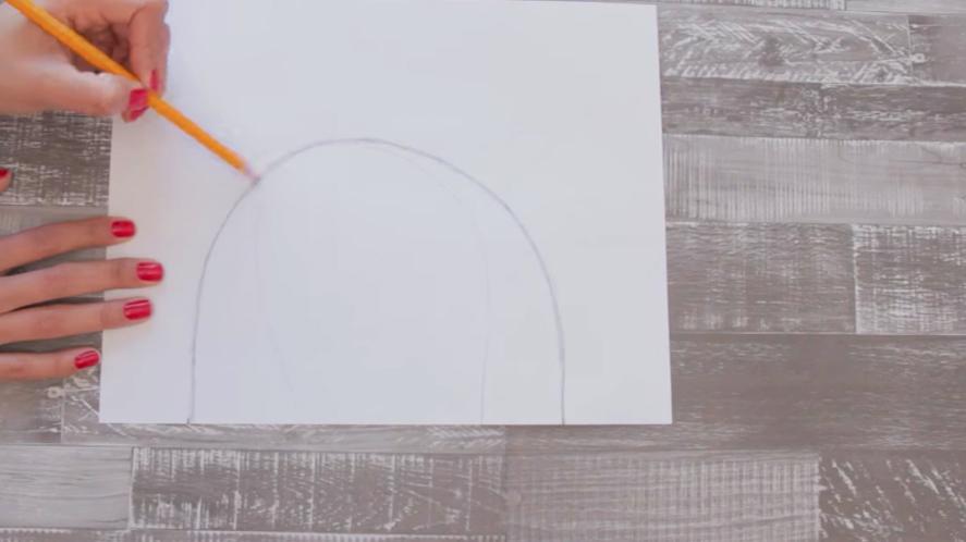dibujo de arco superior de suela para pantufla de tela