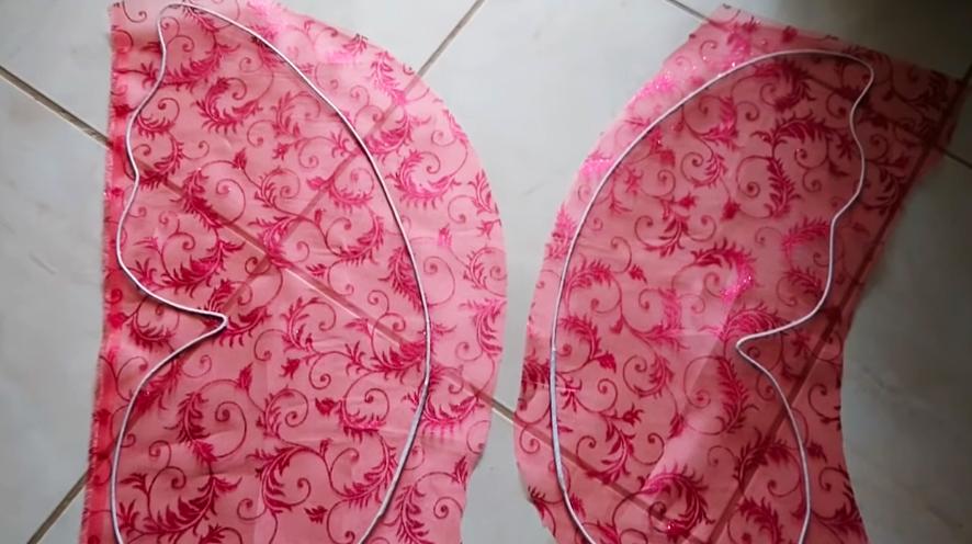 pegado de tela a alas de alambre para alas de mariposa