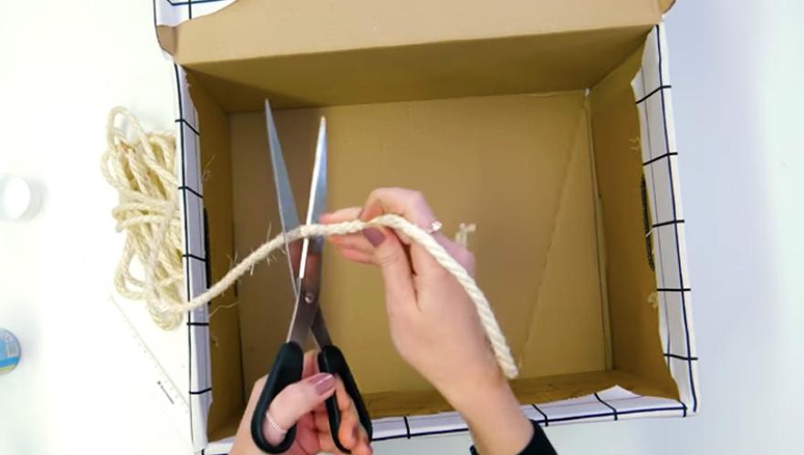 corte de soga para caja forrada en tela