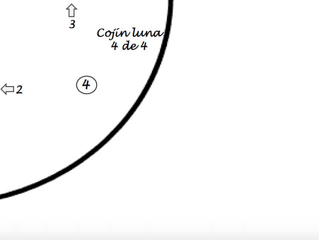cuarto patrón para almhadón de tela en forma de luna