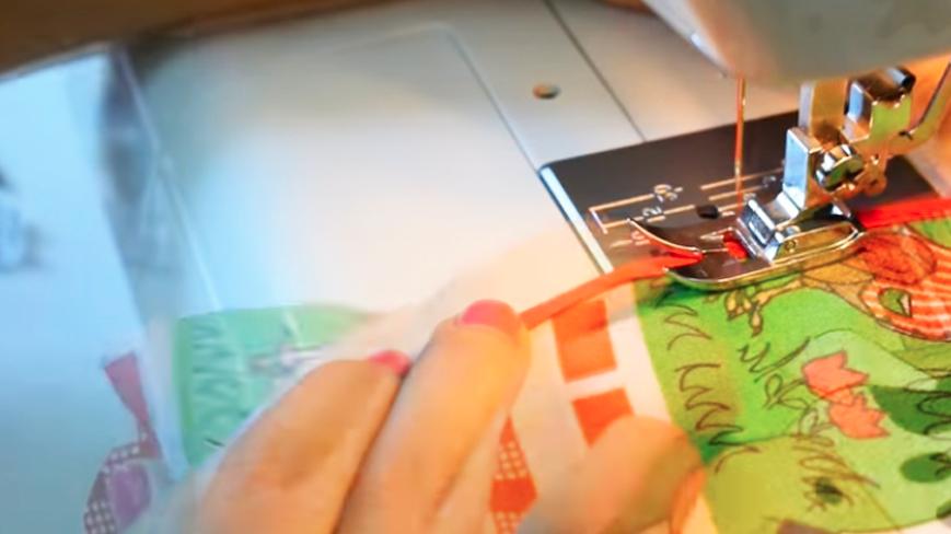 costura de cinta de bies en tela inferior para funda de licuadora