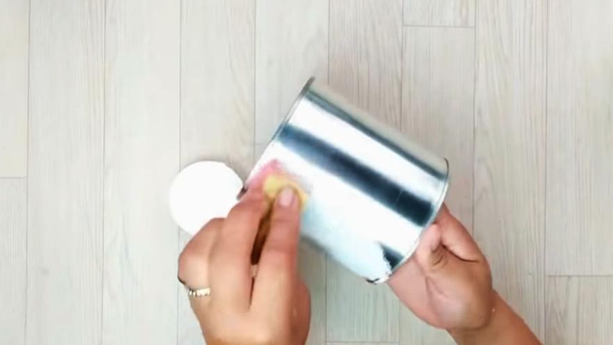 pintado de lata interna y externa para porta utensilios con tela